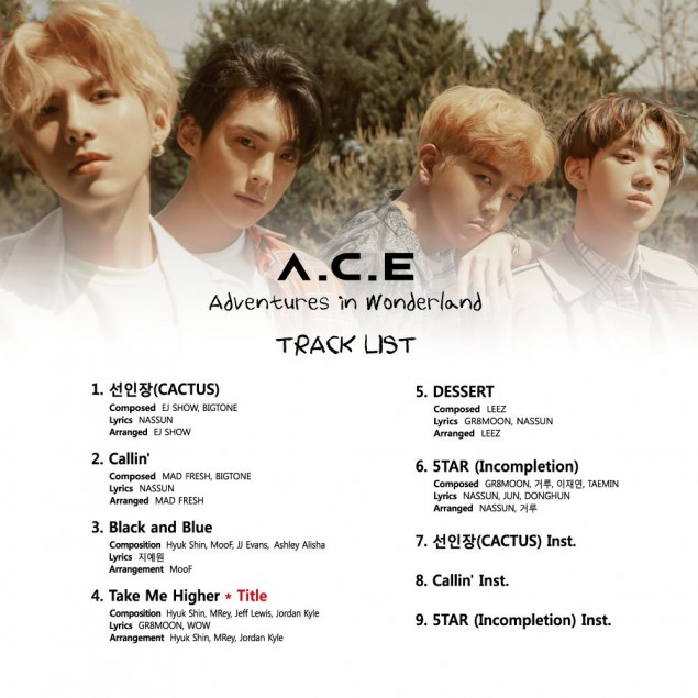A.C.E Adventures in Wonderland track list