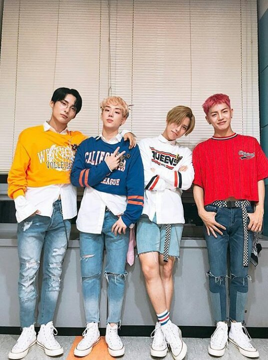Casual picture of A.C.E (without Chan) after performing Take Me Higher