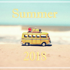 Summer 2018 playlist cover (toy yellow bus on beach)