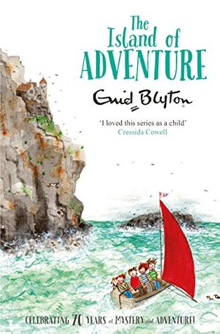 The Island of Adventure by Enid Blyton Book Cover (children on a boat on the sea next to some cliffs)
