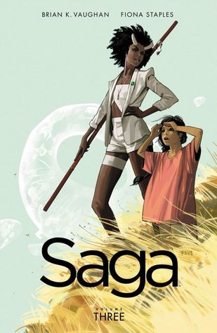 Saga cover (girl and woman with wooden stick on field of wheat)